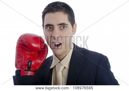 Gay Man In Suit With Red Boxing Glove.