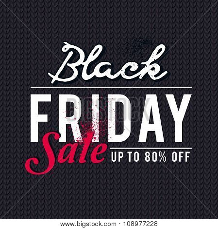 Black Friday Sale Banner On  Knitwear Background, Vector