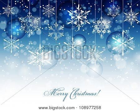 Winter Merry Christmas card with snowflakes, fading into white, vector illustration