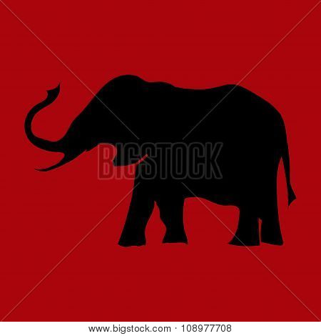 The Outline Of An Elephant To Climb Into The Top Of The Trunk On The Uniform Background