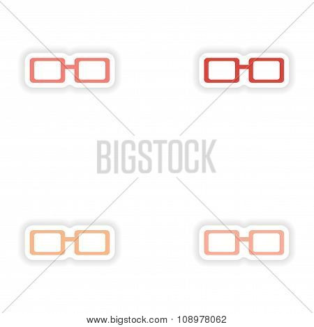 assembly realistic sticker design on paper eyewear