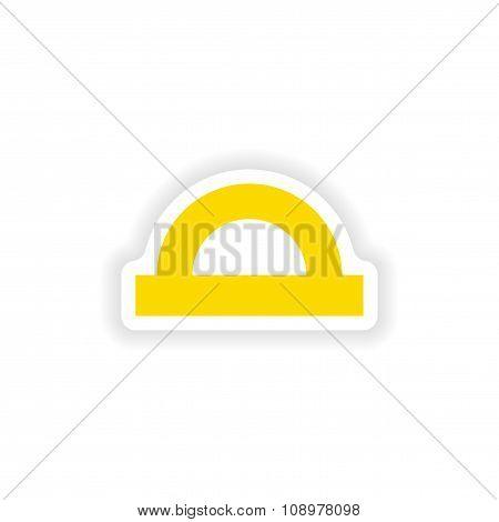 icon sticker realistic design on paper protractor