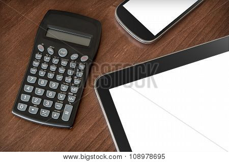 Business Work With Tablet, Smartphone & Calculator #2