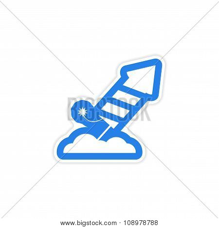 paper sticker on white background rocket fireworks
