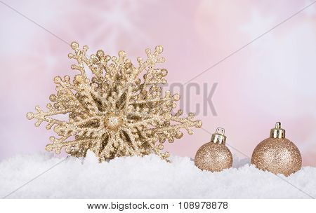 Gold Christmas Star And Baubles