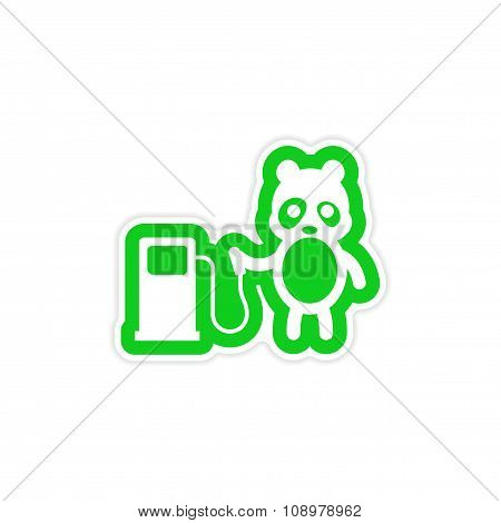 stylish paper sticker on white background panda petrol pump