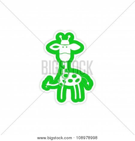 stylish paper sticker on white background giraffe doctor