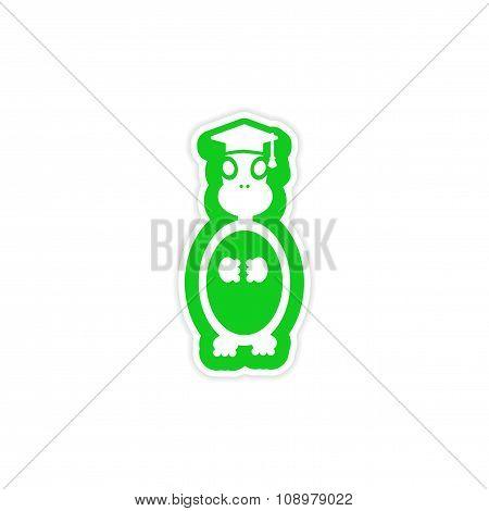 stylish paper sticker on white background turtle scientist
