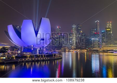 Singapore, Singapore - Circa September 2015: Singapore City Lights And Artscience Museum At Night,