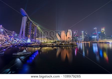 Singapore, Singapore - Circa September 2015: Singapore City Lights, Artscience Museum, Marina Bay Sa