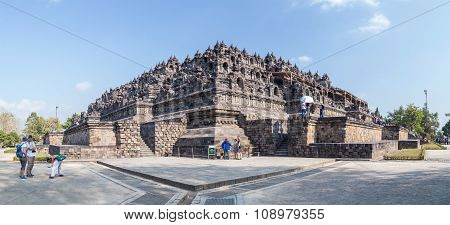 Yogyakarta, Indonesia - Circa September 2015: Panorama Of The Borobudur  Temple