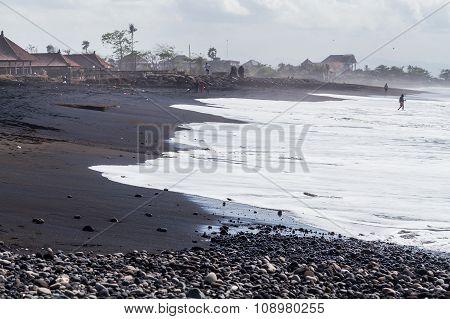 Sanur, Bali/indonesia - 09 24 2015: Public Beach With Black Volcanic  Sand