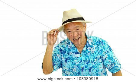Asian Senior Guy On Blue Hawaii Shirt Wearing Hat Ready For Holiday Trip