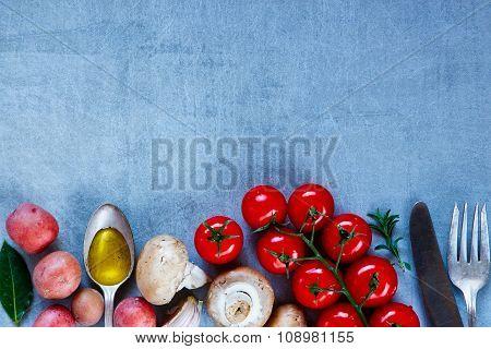 Vegetables On Vintage Background