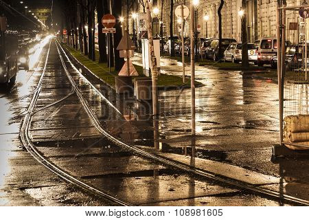 VIENNA, AUSTRIA - JAN 5, 2011: wet trolley rails in the light and streets are reflecting light