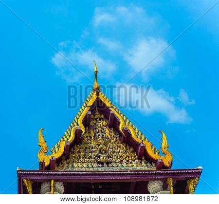 Monastery Wat Na Phramane In Ajutthaya With Famous Gold Buddha And Roof Carvings