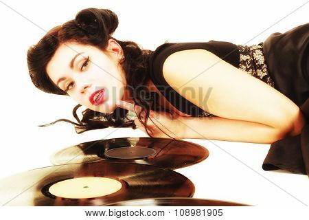 Girl With Phonography Analogue Records Music Lover