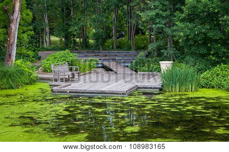 Wood Bridge Over Pond
