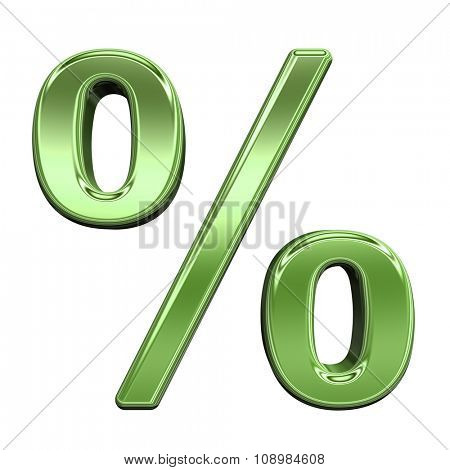 Percent sign from shiny green alphabet set, isolated on white. Computer generated 3D photo rendering.