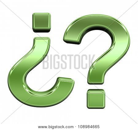 Question mark from shiny green alphabet set, isolated on white. Computer generated 3D photo rendering.