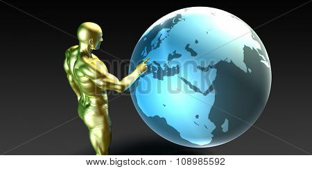 Businessman Pointing at Europe or European Business Investment