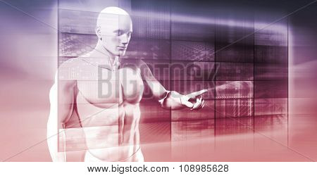 Businessman Analyzing Images or Data on a Digital Screen