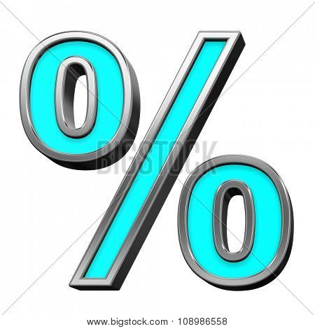 Percent sign from turquoise with chrome frame alphabet set, isolated on white. Computer generated 3D photo rendering.