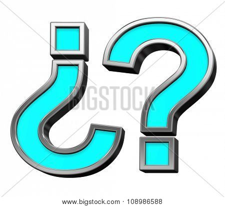 Question mark sign from turquoise with chrome frame alphabet set, isolated on white. Computer generated 3D photo rendering.