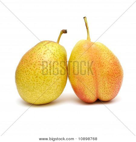 Ripe Pears Isolated On The White