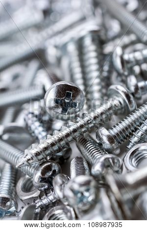 A Big Collection Of Various Iron Screws And Bolt Nuts #2