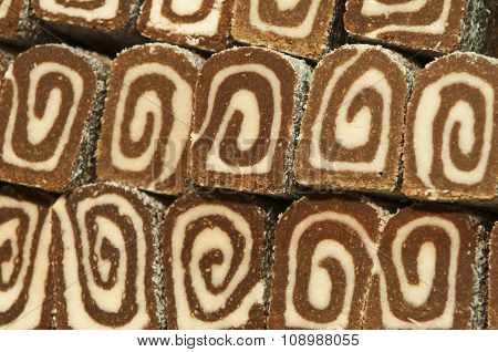 Close-up Coconut Sponge Cake Roll