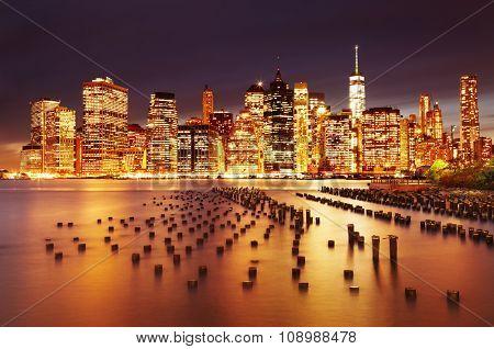 New York City, Lower Manhattan, view from Brooklyn Bridge Park