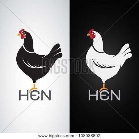 Vector Image Of An Hen Design On White Background And Black Background, Logo, Symbol