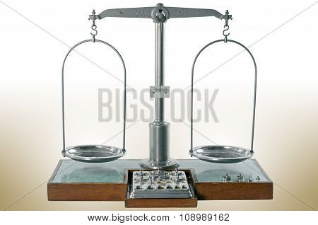 Old Style Pharmacy Scale Is Empty And Balanced