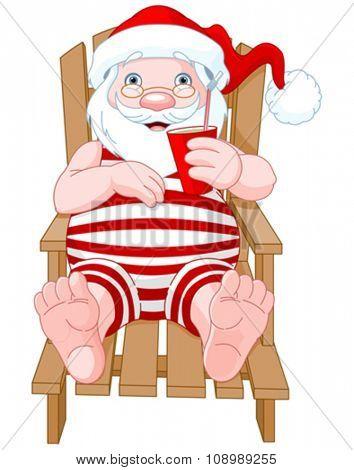 Cartoon Santa Claus relaxing on the beach