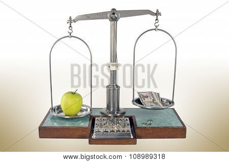 Old Style Pharmacy Scale With Apple And Money