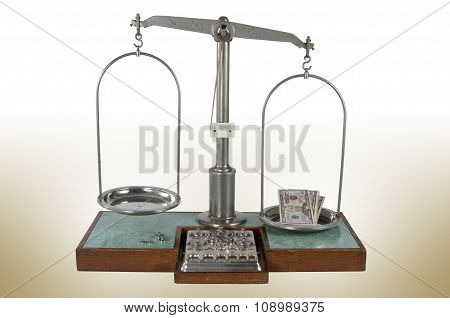 Old Style Pharmacy Scale With Empty Pan And Money