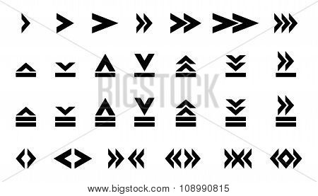 Set of silhouettes arrows.