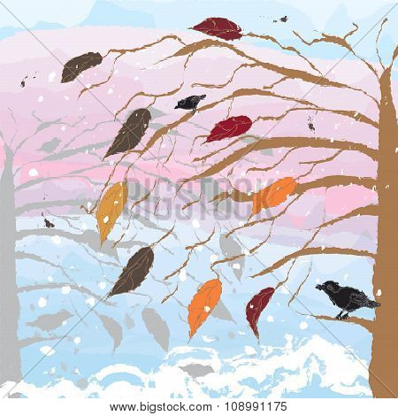 Abstract landscape with tree,birds,cloudy sky.