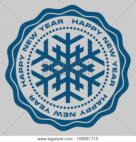 A New Year round stamp, vector illustration.