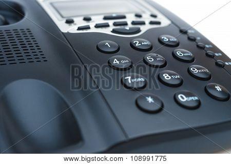 Black Telephone On White With Blue Tone