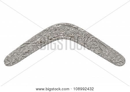Silver Boomerang Isolated On White.