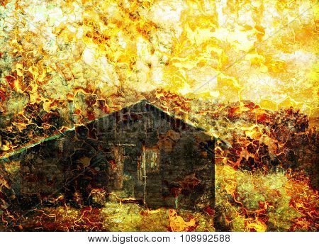 wooden cabin, painting sepia effect, retro effect