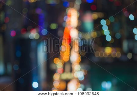 Night traffice lights of City downtown, abstract blurred bokeh background