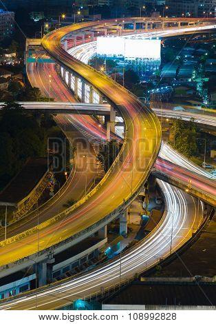 Close up city highway overpass