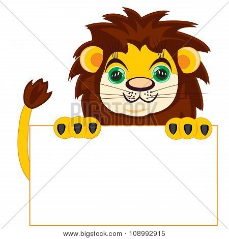 Lion with poster