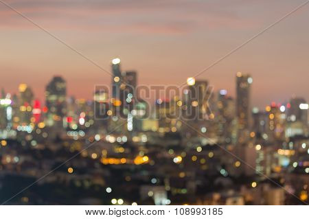 City downtown skyline panorama view after sunset