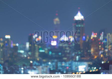 Blurred bokeh lights big city night view