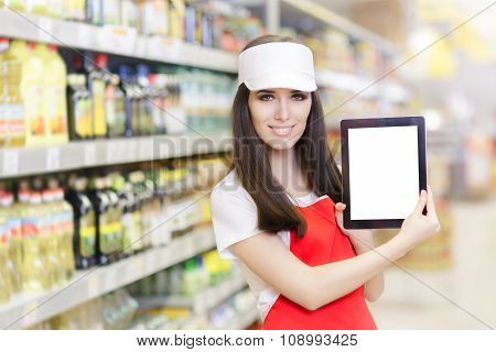 Smiling Supermarket Employee Holding a Pc Tablet
