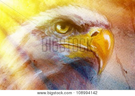 painting of eagle on an abstract background, color with spot structures and sunlight.
